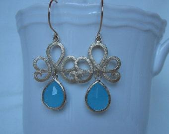 Gold Bridesmaid Earrings-Sky Blue Czech Glass Lotus Earrings
