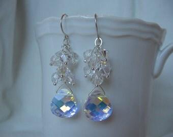 Swarovski Crystal Clear Cluster Earrings. Sterling Silver. Bridesmaids.Wedding
