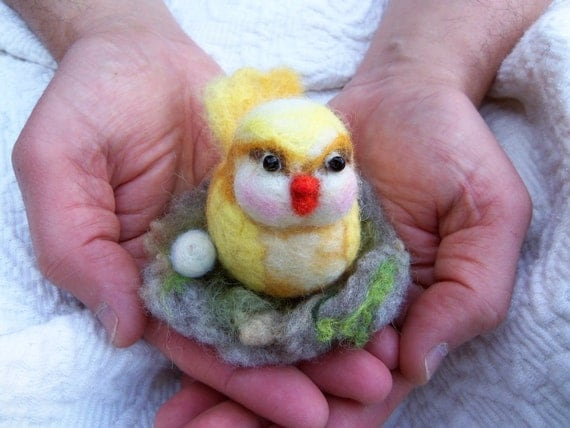 Needle felted yellow bird with nest and egg Easter decor for bird lovers wet felted