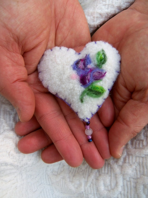 Forget me not heart ornament or brooch for Mothers Day with purple wisteria