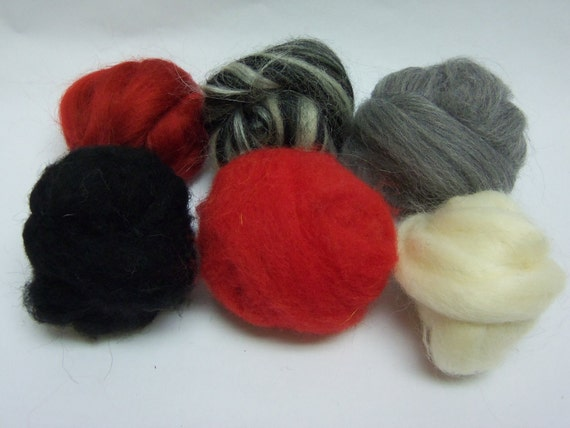 Wool roving, fiber sampler, assortment, needle felting Wooly Buns in Zebra, 1.5 oz