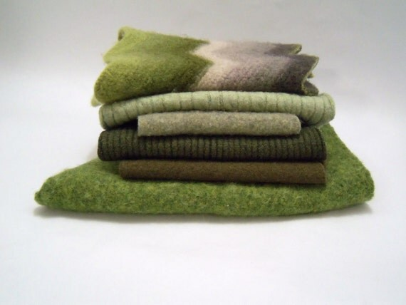 Oversized wool pieces for penny rugs set of 6 for needle felting, crafts, stuffed animals, green shades
