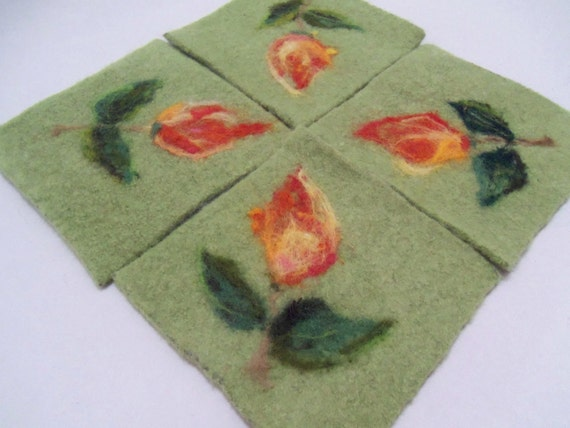Needle felted coaster set of 4, made from wool, orange/yellow flower, hand made,