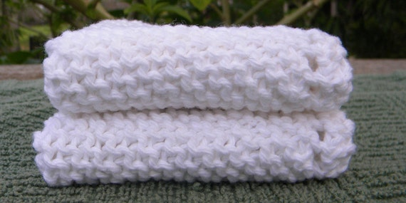 Knit Spa Washcloth Set, very soft, exfoliating, durable, set of two, 100% cotton- White.