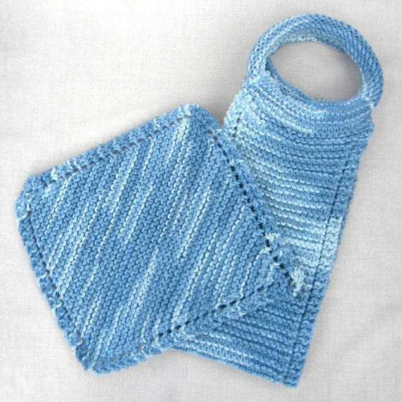 Knitted Back Srubber and Wash Cloth set. Bath/Shower Set. Faded Denim. Exfoliating,100% Cotton. In stock and ready to ship