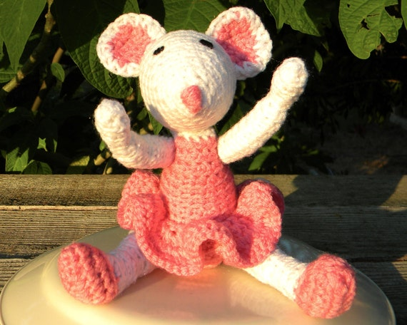 Crochet Mouse, Ballerina, Toy, Soft, Plush, Stuffed, Pink,  Moveable, Child safe. In stock and ready to ship