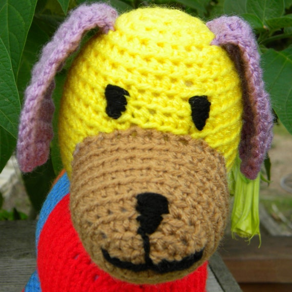Crochet dog, puppy toy, learning toy, patchwork, color learning soft toy, plush. In stock.