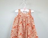 Girls Spring Summer Dress Custom Sizing 1T,  2T,  or 3T Orange and Cream