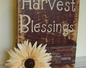 Harvest Blessings wooden sign rustic for fall, thanksgiving or Halloween