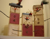 Wooden Snowman Family primitive rustic christmas decoration