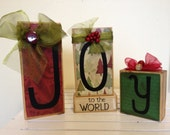 Joy to World- Wooden block Holiday set Christmas decoration December Christmas carol red and green joy to the world