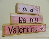Be my Valentine wooden blocks decoration for Valentines pink and white love happy valentines day love cupid ribbon pearl February couples