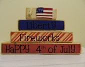 Happy Fourth of July Wooden blocks stacker, summer, patriotic, red white and blue America primitive decoration for July clay flag