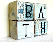 Bathroom wooden sign for the bathroom home decor blue with vinyl lettering and rustic embellishments comes with the four blocks
