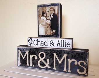 Mr and Mrs Wedding decoration black painted wooden blocks shabby chic vintage wedding personalized photo Christmas gift