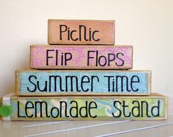 Summer sign wood sign wooden sign summer time picnic flip flops lemonade stand summer decor home decor living room decor entry way decor