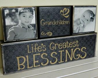 Personalized grandparent gift mom and dad gift wooden blocks grandchildren gift personalized gift grandma and grandpa custom Christmas gift