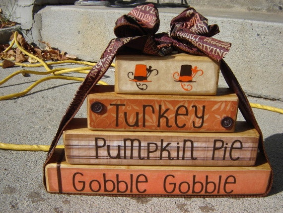 Thanksgiving decoration for the holidays fall decor pilgrim hats orange and brown turkey pumpkin pie gobble gobble