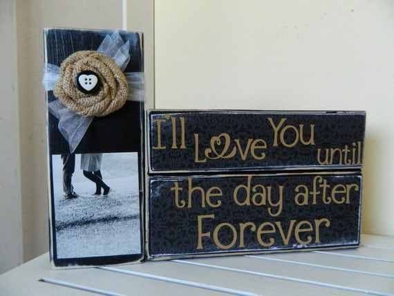 Wedding decoration or gift Black decor I'l love you until the day after tomorrow burlap flower with picture button and heart