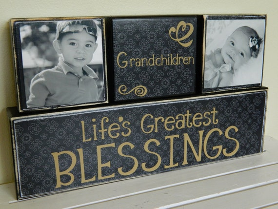 Personalized grandparent gift mom and dad gift wooden blocks