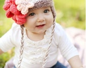 Knit baby girl earflap hat with flower, made & sized to order. Custom color requests welcome. Great photography prop.