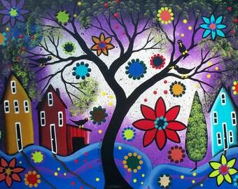 Needlepoint Canvas 14 or 18 count, Rainbow Twilight, By Lori Everett