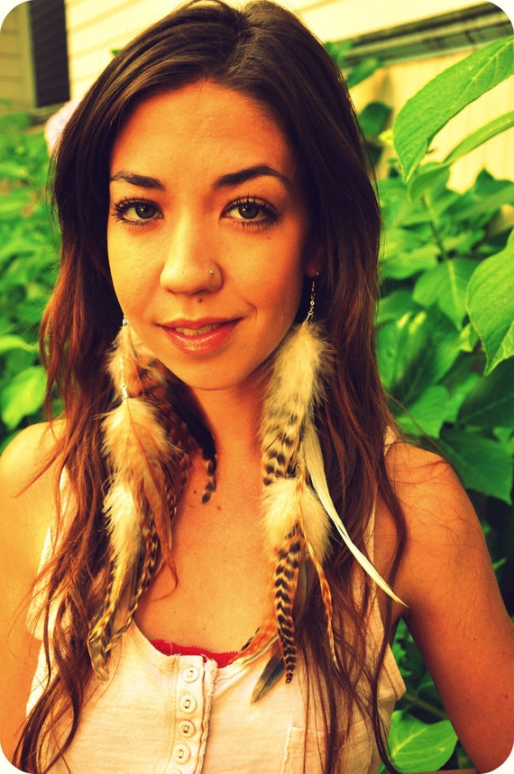 The Littlest Fairy - Long natural rooster feather earrings on Chain - Chain and Feather Earrings