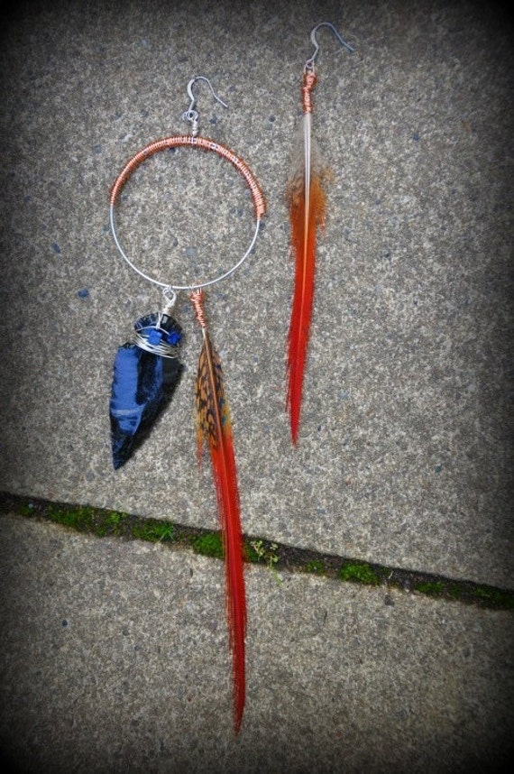 SALE - Hoop & Daggar - Asymmetrical wire wrapped hoop earrings with red pheasant feathers and arrowhead with Lapis stone - Native American