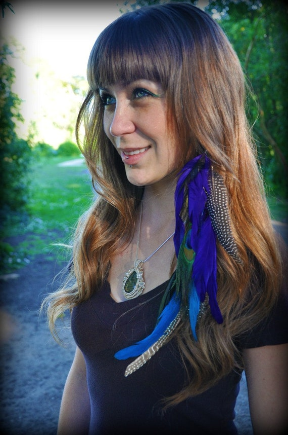 Long Feather Hair Clip - Purple and teal rooster feathers, peacock feathers, and guinea hen feathers on black suede cord