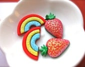 Glittery Strawberry OR Rainbow Hair Clips-Sparkly Set of Two-Silver gators or Bobby pins-Spring Fashion-Fruit, Wizard of Oz Accessories - couturenicole