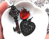 Twilight Gothic Gem and Metal Pendants/Charms-Red Heart Jewel, Black Filigree Heart, and Scrolled Key