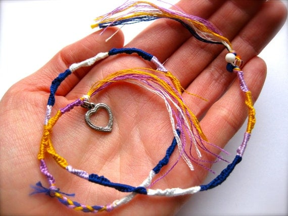 Nautical Friendship Bracelet with beads, silver open heart charm, and fringe-Tie Me On-Adjustable, Stackable-Skinny Jewelry-Summer Fashion