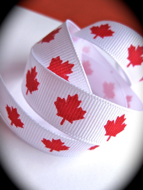 RESERVED-Patriotic Maple Leaf Grosgrain Ribbon-Canadian Flag-red and white-London Olympics