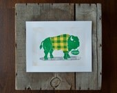 WALL Art NDSU Bison, Go Bison Green and Yellow LINOCUT Print 8.5 x 11, Bathroom Art, Mancave Art