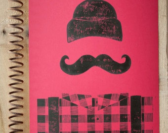 PRINT - Manly Lumberjack Retro Red and Black Buffalo Plaid LINOCUT POSTER