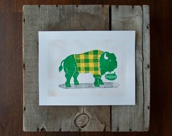 WALL Art NDSU Bison, Go Bison Green and Yellow LINOCUT Print 8.5 x 11, Bathroom Art, Mancave Art
