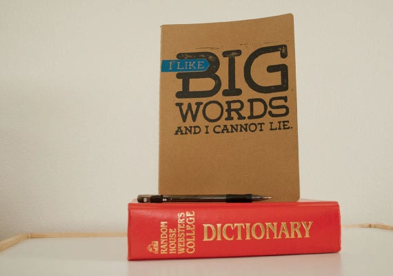 Gift for WRITERS - I like Big Words and I Cannot Lie NOTEBOOK Authors, Bloggers Journal - LINOCUT