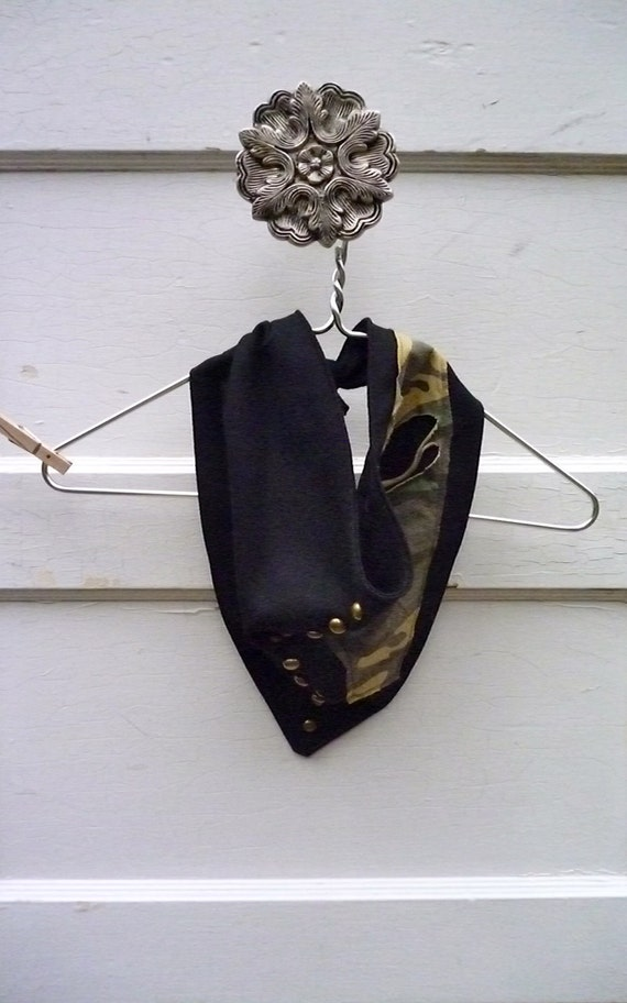 Black sexy cotton camo Bandanna- Adjustable-Scarf,BurningMan, Brass Rivets ,Recycled Fabric, Face guard,Bandanna