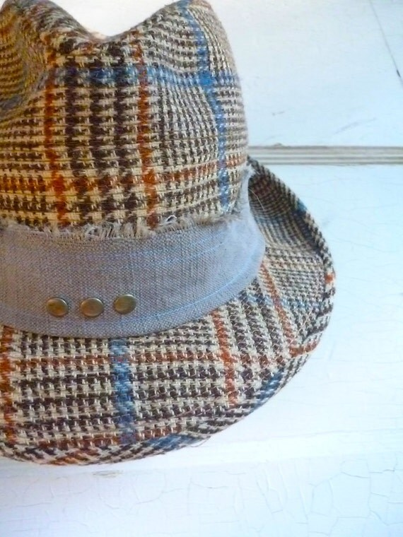 "Fedora Adult Hat - Vintage / ""Day On the Green Fedora""/ Size: S/ Plaid Hat with leather"