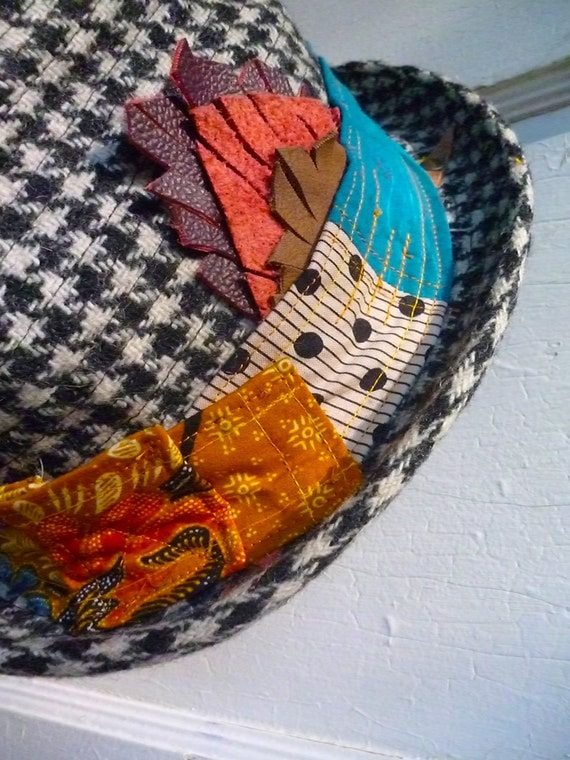 Fedora Up-cycled Adult Hat - Vintage Gypsy Tea Party Fedora