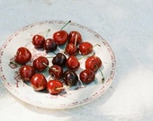 Triptych red cherries film food photography kitchen decor  - Les cerises - Set of 3 analog prints5 x 7 inches