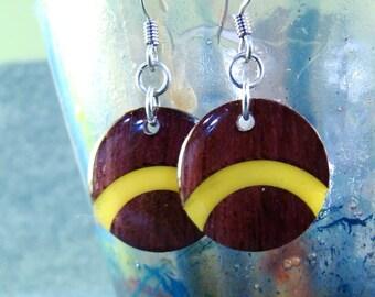 Wood Earrings - Yellow Purpleheart Arc