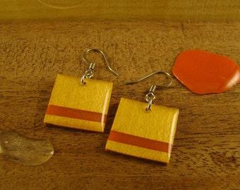 Wood Earrings - Yellowheart & Tangerine Square