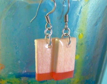 Wood Earrings - Red Maple Square