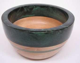 Handcrafted Wooden Bowl with a Green Pearl Resin Top & Lite Green Inlay Wedding Housewarming Engagement Gift Collectible Art