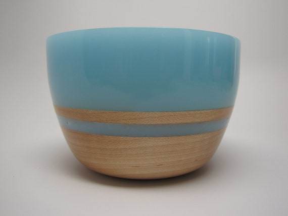 Hard Wood Maple Bowl with a Frost Lite-Blue Top & Inlay
