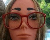 Red Eyeglass Frames 1980's Oversized