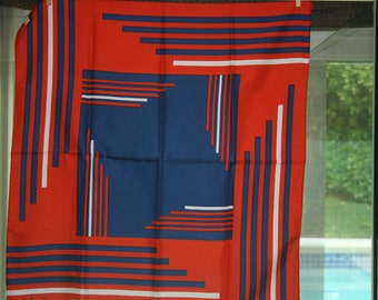 SALE Vintage July 4th Red White and Blue Silk Scarf
