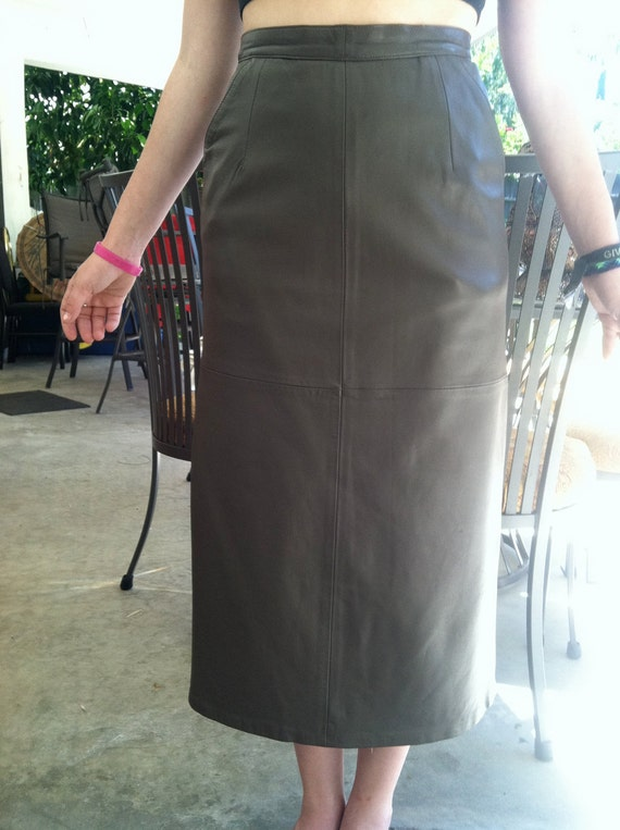 items similar to leather skirt taupe brown fifty