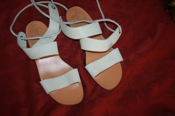 SALE White Leather Sandals from France